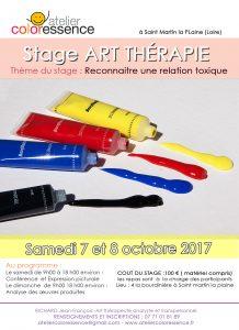 relation toxique : conférence et week-end d'art thérapie octobre 2017 avec Jean François Richard Atelier Coloressence