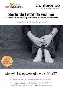 Comment ne plus être victime Conférence de Jean François Richard Atelier Coloressence Saint Martin la Plaine