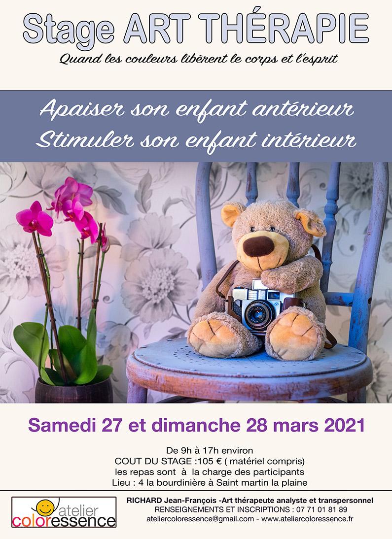 Stage d'art thérapie 27 et 28 mars 2021 - Atelier Coloressence