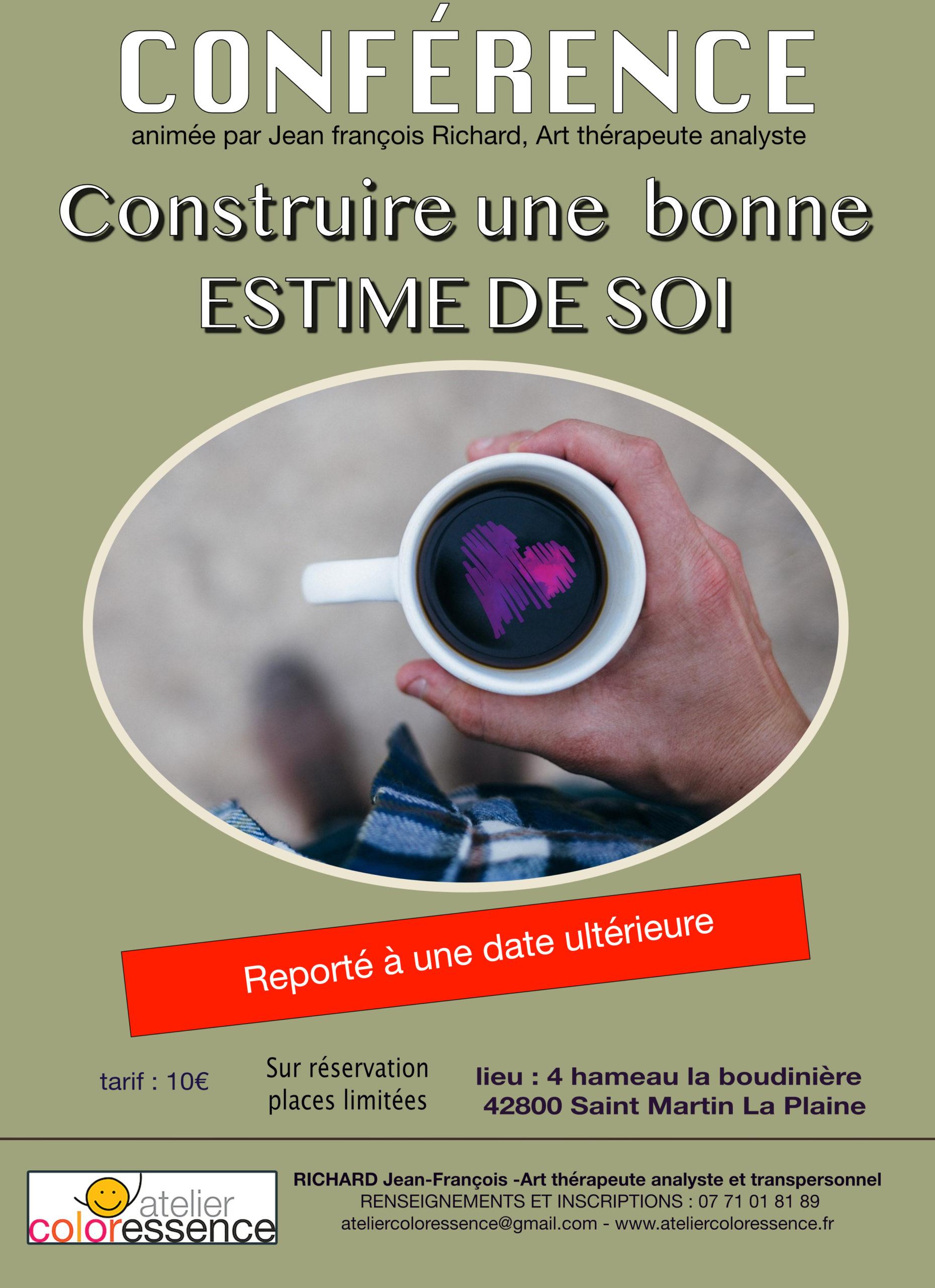construire une bonne estime de soi - Conférence Atelier Coloressence Saint Martin la Plaine